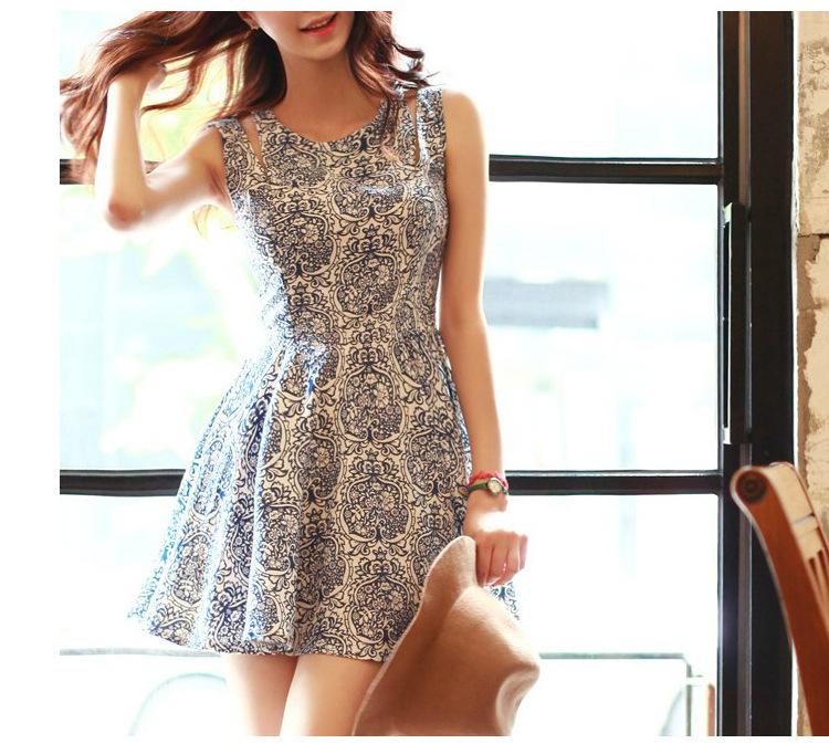 Summer 6497 new Korean fresh blue white porcelain slim sleeveless vest dresses womens - TOPFEEDIT LTD store