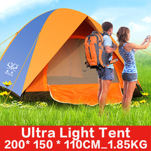 Double layer doors 2 Person Glass Fiber  Rod Rainproof Windproof Hiking Backpacking  Outdoor Camping Tent  200*150*110CM 1.85KG(China (Mainland))