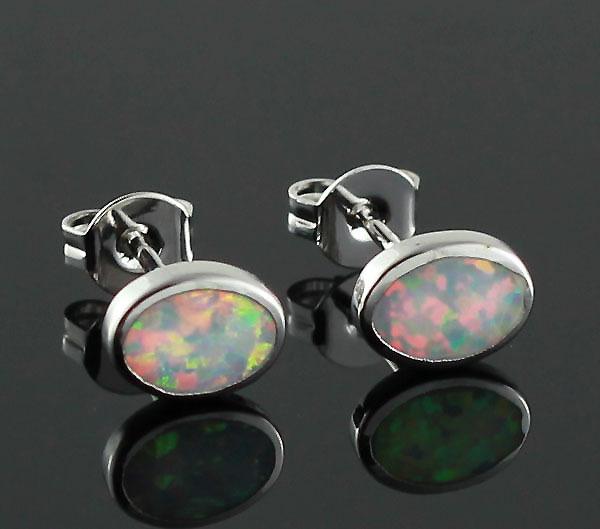 Retail Oval Created White Blue Orange Green Fire Opal Fashion Jewelry Stud Earrings Women OE96 Free Gift Box - OPAL store