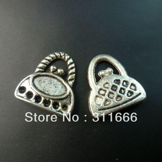 140 pcs/lot Handbag tibet silver floating charms pendants Free shipping