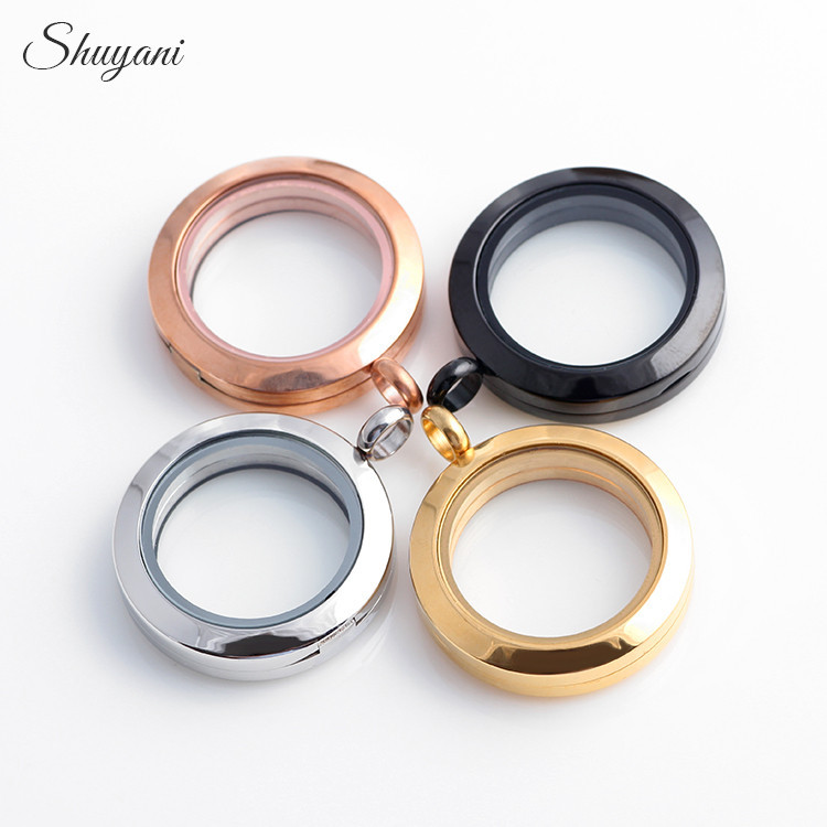 SHUYANI 5pcs/lot Stainless Steel Magnetic Locket 25mm Plain Round Floating Locket Living Glass Locket Pendant<br><br>Aliexpress