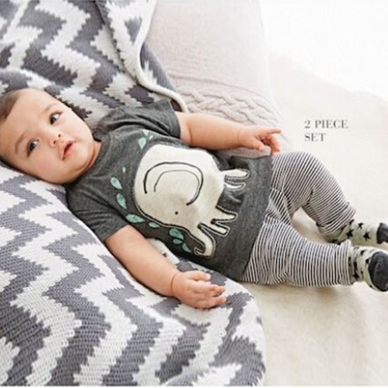 Cool Baby Boys Clothes Set Elephant Print Short Sleeve Tops+Striped Long Pants Outfits 2015()