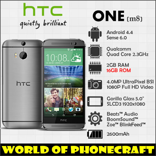 "HTC ONE M8 Quad Core 2G RAM 16G ROM 5"" Full HD 1920*1080 Android 4.4 Sense 6 three cameras 4G LTE 3D camera smartphones(China (Mainland))"