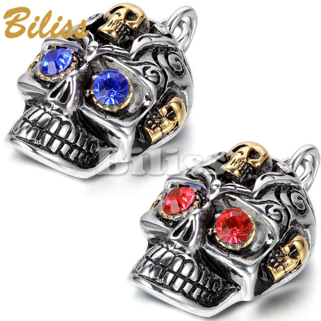 2015 New Heavy Skull Pendant Necklace Blue / Red Rhinestone Mens Stainless Steel Necklace Cheap Men Jewelry(China (Mainland))