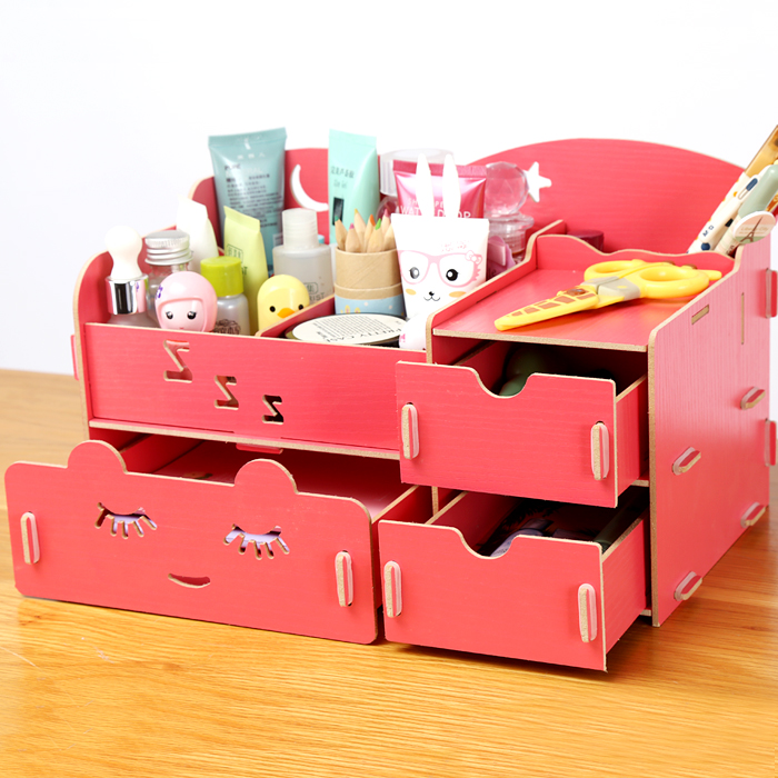 DIY Cosmetic Makeup Wooden Storage Box Multicolour Desktop Wood Cabinet Organizer Box For Cosmetics Jewelry Gift(China (Mainland))