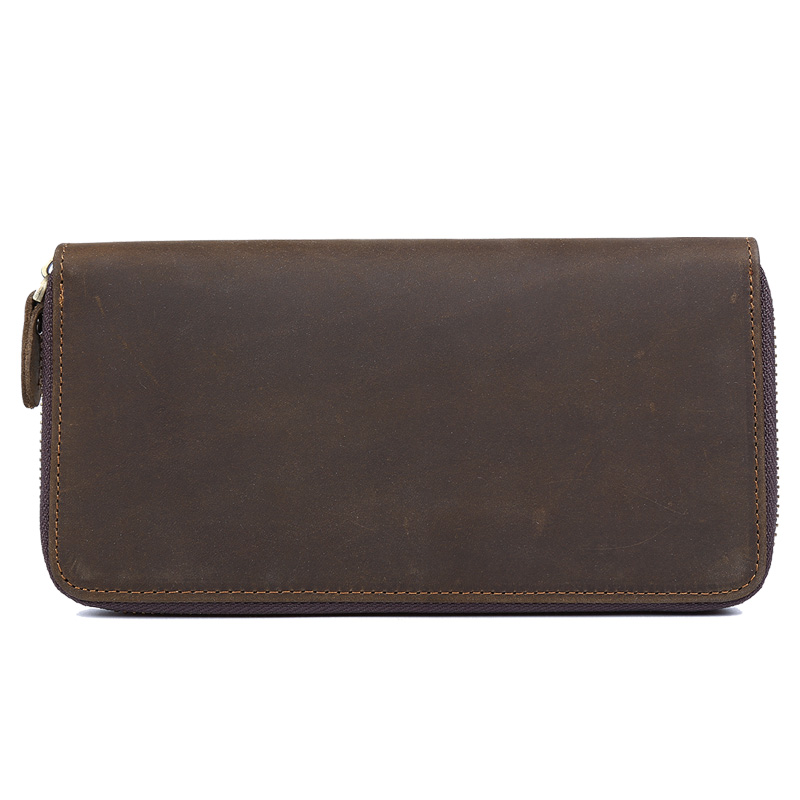 TIDING Retro purse with coin pouch card holder male long brown genuine leather zipper wallet men 4007(China (Mainland))