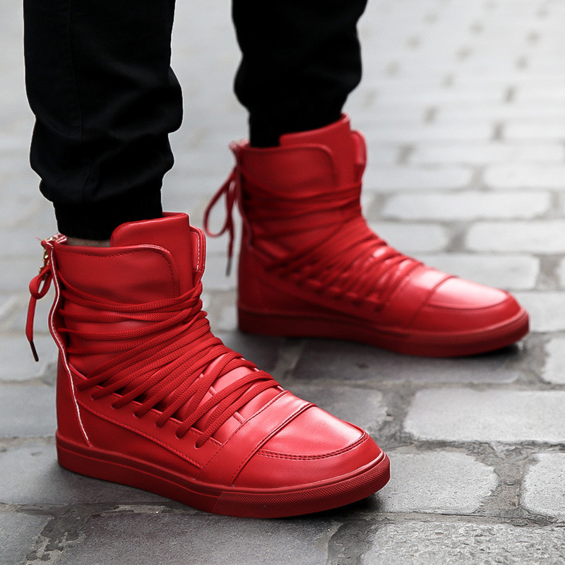 Hot! High Quality Men Boots Shoes High Top Casual Shoes PU Leather Red Black White Autumn Winter Breathable Hip Hop Shoes Men <br><br>Aliexpress