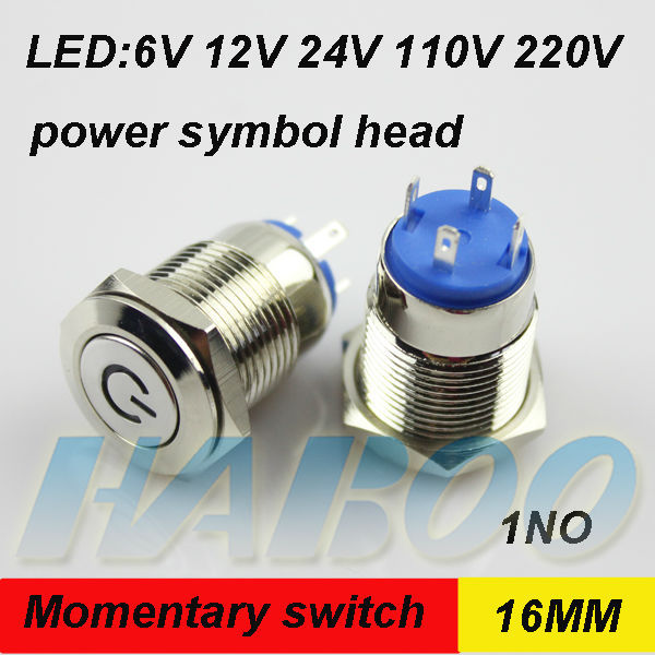 1pcs packing 16mm reset push button switch illuminated switch power symbol head led lighting metal switch 24v 220v shipping free(China (Mainland))