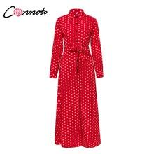 Conmoto מזדמן מנוקדת חולצה ארוך שמלת נשים 2019 אביב צווארון עומד שמלת וינטג גבוה מותן Sashes שמלה בתוספת גודל Vestido(China)