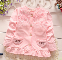 (1piece /lot) 100% cotton 2016 long sleeve rose lace   baby outerwear(China (Mainland))
