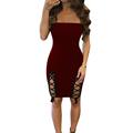 Strapless Black Dress Sleevelese Backless Off Shoulder Mini Evening Party Dresses Women Hollow Out Irregular Bandage