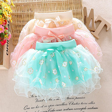 2016 New Spring Summer 1 2 3 years old baby girls skirts with flora fashion children skirt B005(China (Mainland))