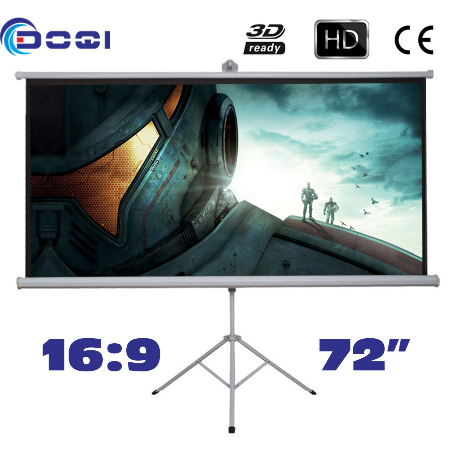 "Фотография High-class 72"" 16:9 Tripod Portable Projection Screen HD Floor Stand Bracket Projector Screen Glass Beaded Factory price"