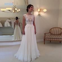 Buy 2017 Line Backless Lace Wedding Dresses Scoop Neck Chiffon Robe De Mariage chiffon See Back Beach vestido de noiva for $59.93 in AliExpress store