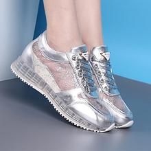 New Summer Women's Casual Shoes Cut Outs Breathable Platform Shoes Women Shoes Casual Air Mesh White Sliver Shoes
