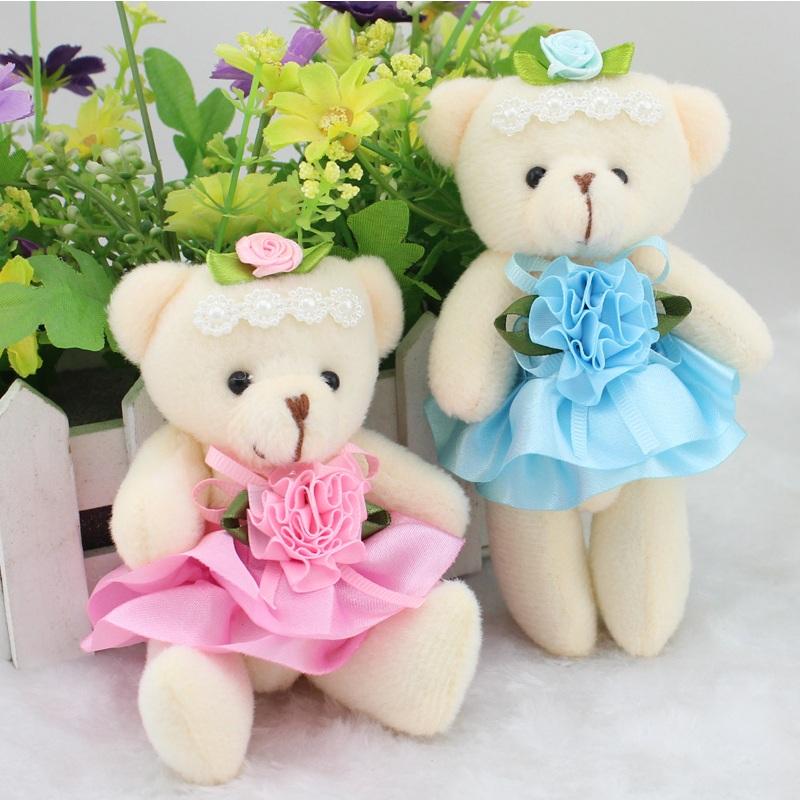 Venda quente 12 pçs/lote meninas encantadoras boneca de brinquedo de pelúcia coisas & plush mini bouquets urso de brinquedo de presente relativo à promoção presente do dia dos namorados(China (Mainland))