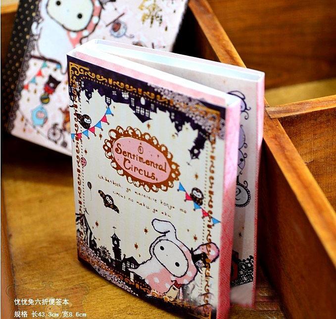 Pengiriman gratis Kawaii Sentimental sirkus kelinci notepad, / Memo / 6 kali lipat catatan lengket pad, / Notebook ritel K6419<br><br>Aliexpress