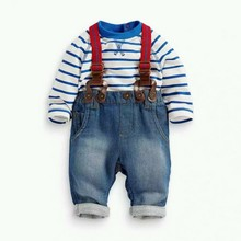 Hot Baby Boys Sets Toddler 2PCS Set T shirt Top Jeans Bib Pants Overall Outfis Baby