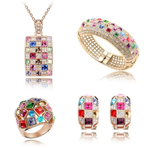 Valentine Day gift Made with Swarovski Elements 18K Gold Plated necklace earrings jewelry set for women #QS4286(China (Mainland))