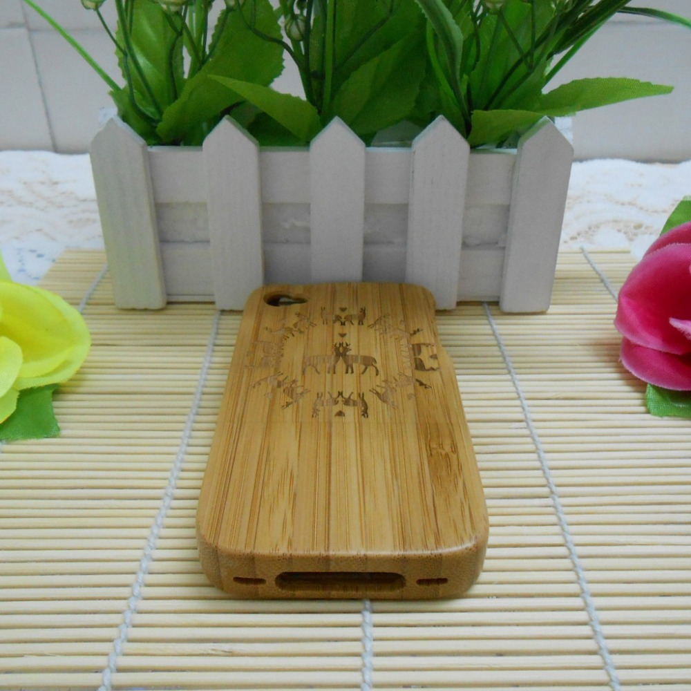 New Genuine Natural Wooden Bamboo Hard Back Case Cover for iPhone 4 4S original real bamboo case for iphone &samsung(China (Mainland))