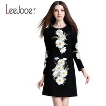 LEEJOOER Womens Elegant Embroidery Autumn Dress 2016 Fashion European Style Casual Vintage Long Sleeve Print Floral Mini Dress(China (Mainland))