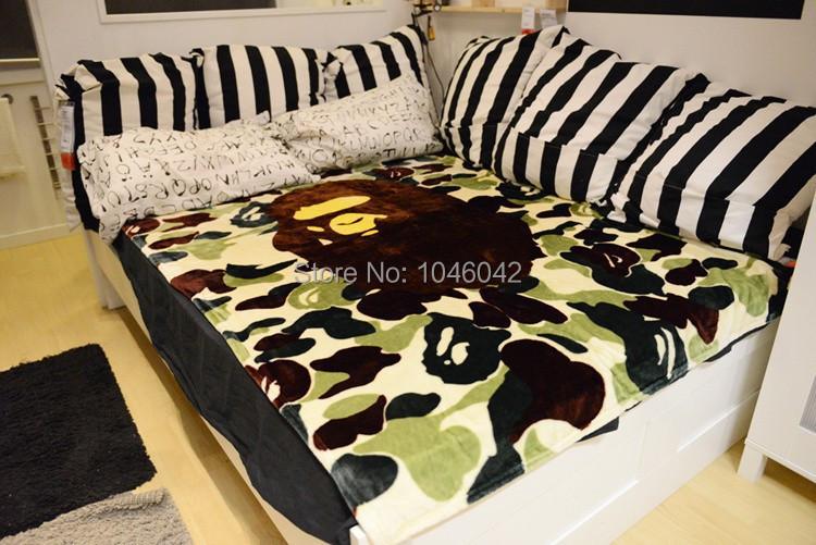 Camouflage Bape blanket Japan fashion brand  fleece blanket for the sofa APE PORTER(China (Mainland))