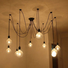 LIXADA 9/10 Arms E27 Adjustable DIY Home Bulb Holder Lamps Ceiling Spider Pendant Lamp Light Classic Retro Chandelier(China (Mainland))