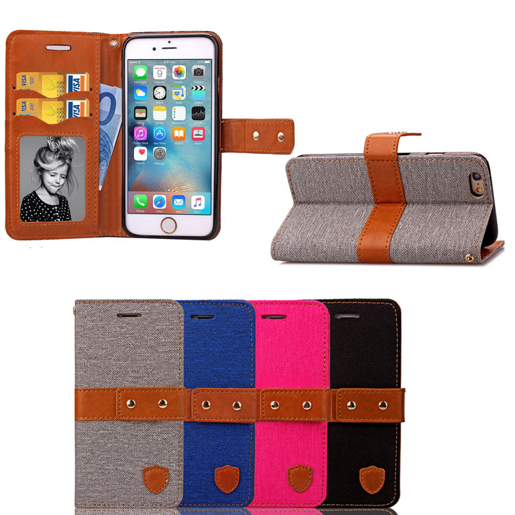 """New Fashion PU Leather Case For iPhone 6/6s/6s plus/4.7/5.5"""" Denim buckle Magnetic Flip Wallet Stand Cover with Credit Card Slot(China (Mainland))"""
