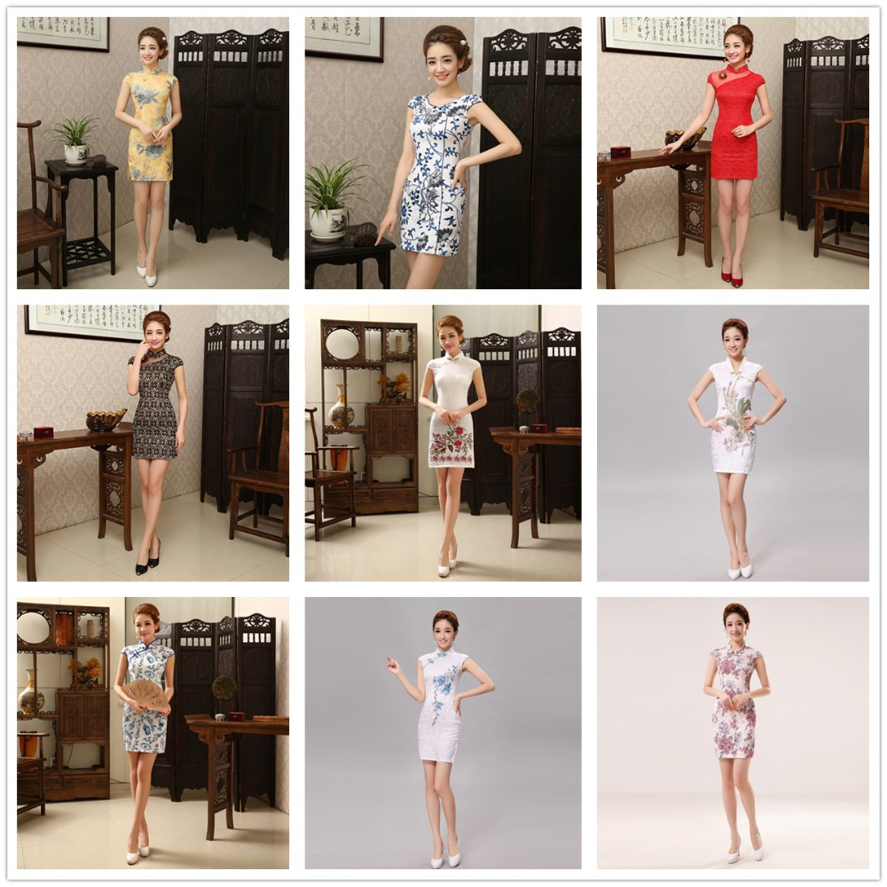Wholesale gorgeous new silk chinese vintage silm women cheongsams delicate handmade qipao unique party dresses QP044(China (Mainland))