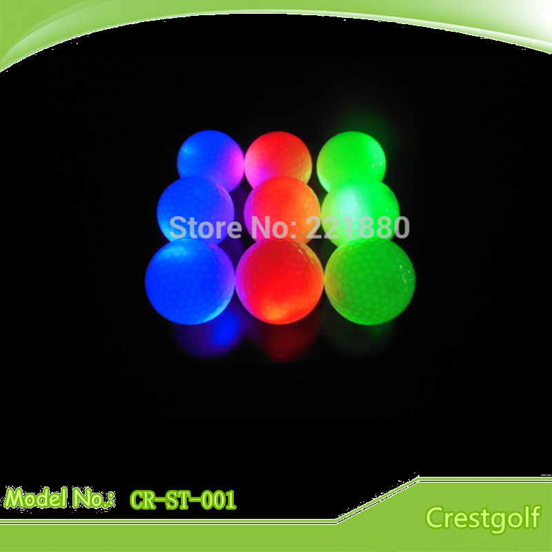 10pcs/lot LED Golf Ball 5 colors Green Blue Red Pink Yellow Constant Shining Luminous Glowing Golf Practice Balls(China (Mainland))