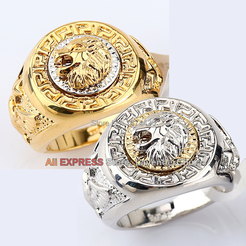 A1-R069 Men's 19mm Band Ring Cool Lion Eagle Star 18KGP Jewelry Size 8-14()