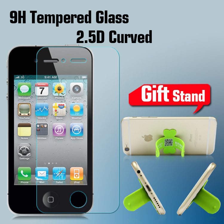 Premium Tempered Glass Screen Protector for Iphone 4 Glass Screen Protector Tempered Glass Protective Film For Iphone 4S + Stand(China (Mainland))