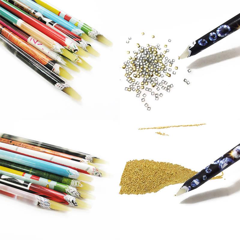 New 2pcs Nail Art Wax Pen Nail Rhinestone Picker Pencil Gem Crystal Pick Up Tool For Beauty Nail Art Tools