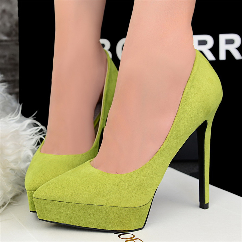 3158# Suede woman pumps 12CM heels OL Lady leather high heels Solid Sexy women shoes(China (Mainland))