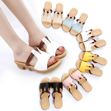 2016 Summer New Fashion Thick Soled Sandals Shoes Korean Style Slope Drag Female Sweet Casual Women Flip Flops Shoes