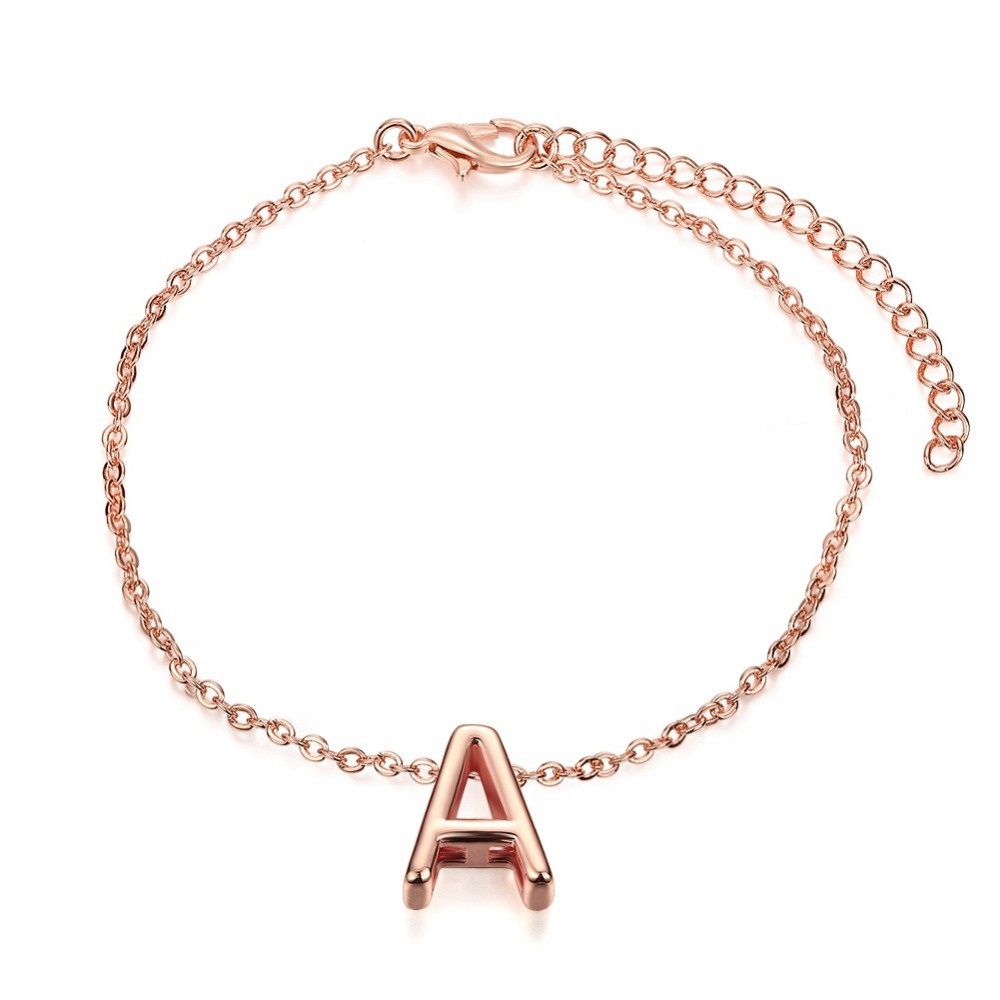 high-quality Rose Gold Plated Letters A Bracelet Initial Charm Chain Bracelet Bangle Fashion Women Jewelry Gift(China (Mainland))