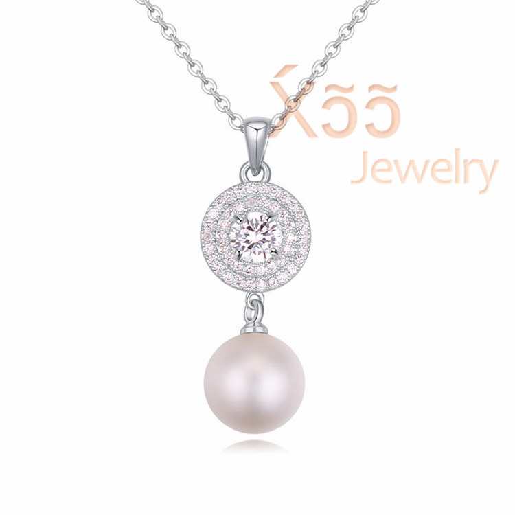 Woman luxury pearl crystal necklace gold platinum plated jewelry swing ball Silver necklace Wedding party N115222(China (Mainland))