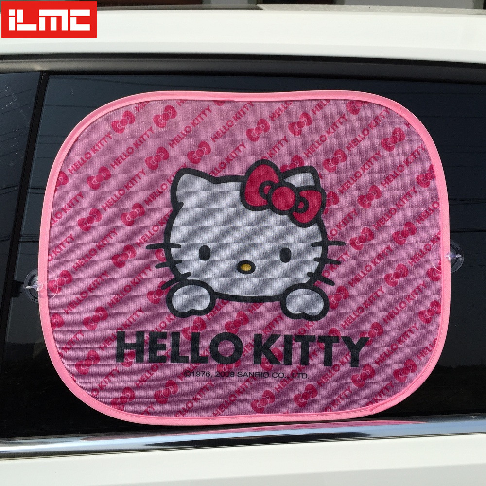 2PCS HELLOKITTY Car Windshield Car Sun Shade Cute Cartoon Pink Car Styling Rear Side Window Sunshade Protect Window Film(China (Mainland))