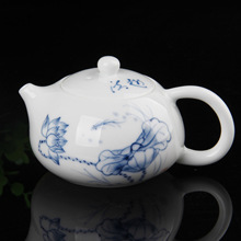 Master of technology high-end hand-painted Qinghua tea teapot pot lotus beauty
