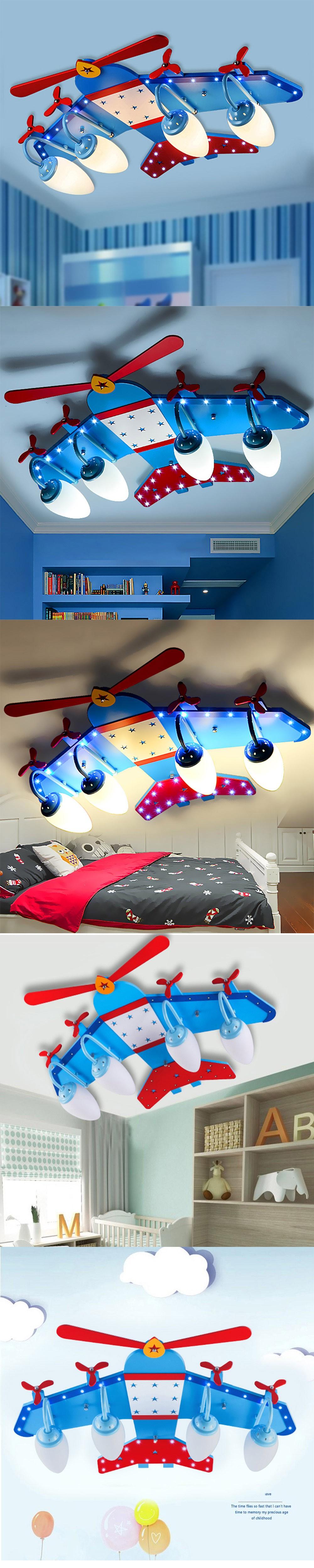 Купить Дети деревянный потолочный светильник E14 Светодиодные 110 В-220 В заподлицо потолочный светильник Мультфильм Спальня Самолет светодиодный потолочный свет лампы Акриловые