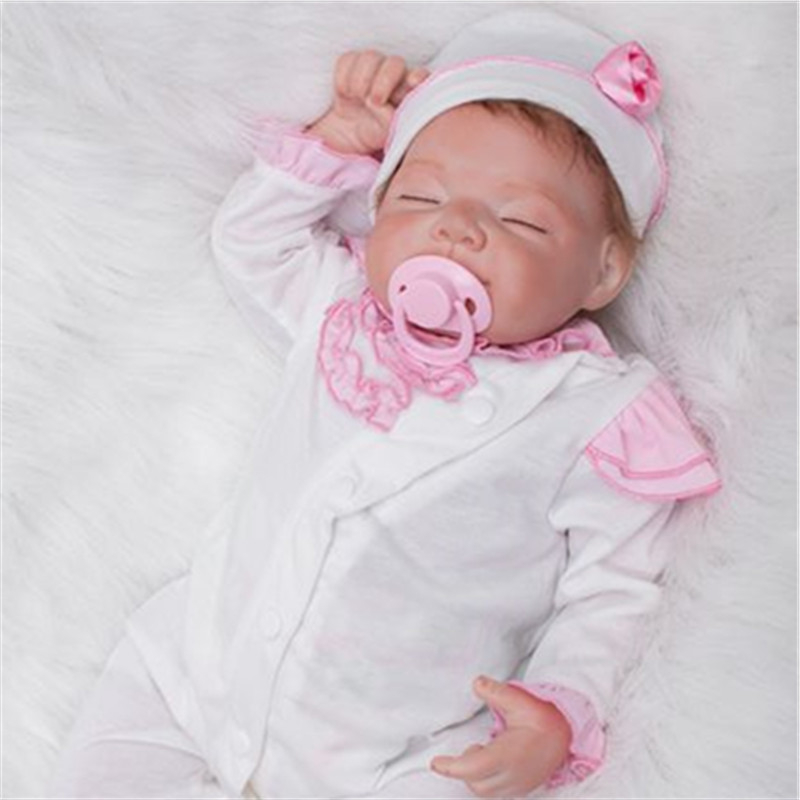 "[SGDOLL] 20"" Soft Touch Vinyl Handmade Newborn Sleeping Baby Reborn Dolls Kids Toys with White Cotton Rampers Xmas Gift 16092411(China (Mainland))"
