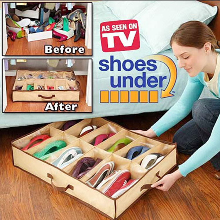 Free Shipping Shoes Storage Bag As Seen On TV Storage Products Home Shoes Organizer Folding Shoes Storage Boxes Products HH058(China (Mainland))
