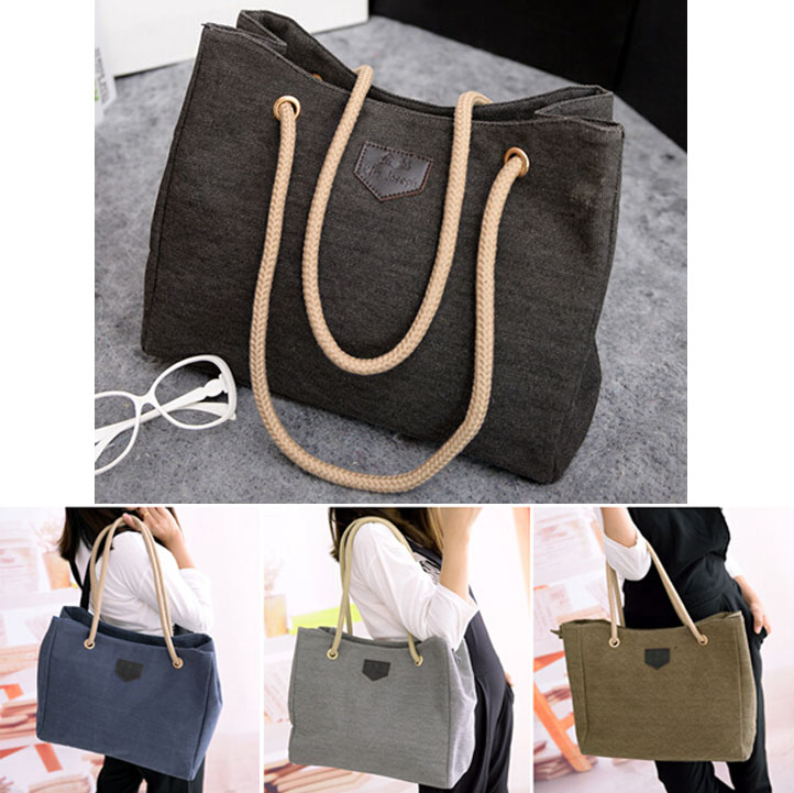Summer 2015 canvas bag women handbag big shopping bag ladies black Fashion Woman Canva Casual Handbag Shoulder tote bag V2G12(China (Mainland))