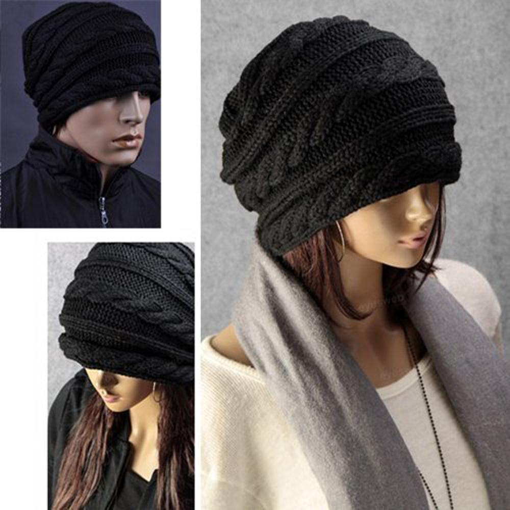 Winter Black Oversized Knit Baggy Beanie Slouch Hat Unisex Fashion Gift(China (Mainland))
