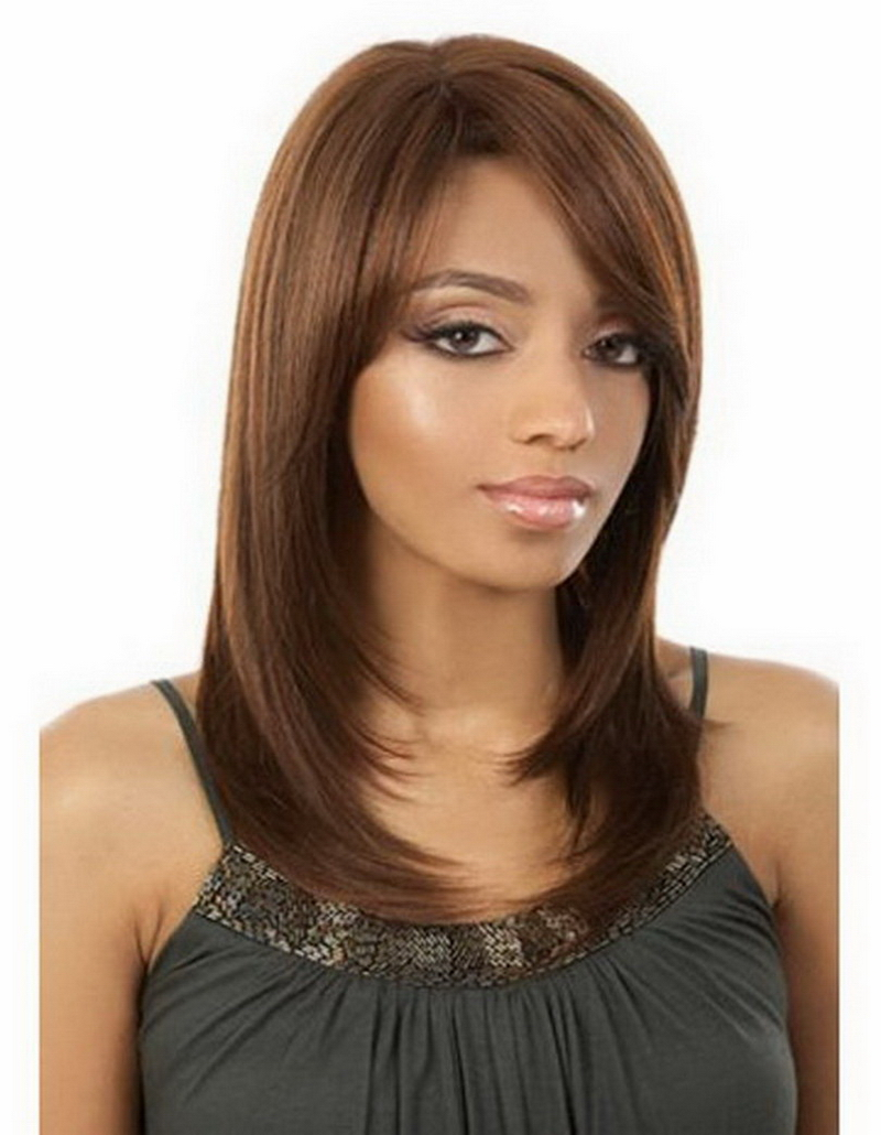 16inch Medium Length Bright Brown Wig For African American Women Natural Heat Resistant Synthetic Cheap Hair <br><br>Aliexpress