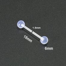 2PCS פלסטיק בלתי נראה פירסינג תכשיטי האף טבעות טבור לשון טבעות גבה טבעת שפתיים Labret מייצבת בר אנטי- אלרגי(China)