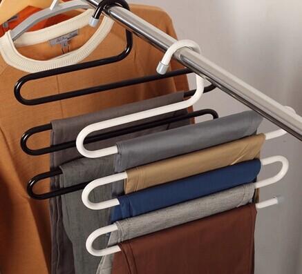 Magic multifunctional trousers rack multi-layer hanger slip-resistant hanger wardrobe pants hanging pants clip storage(China (Mainland))