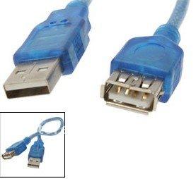 USB cable 2.0, Transparent Blue, USB Extension cable, 20pcs/lot, 1.5meter