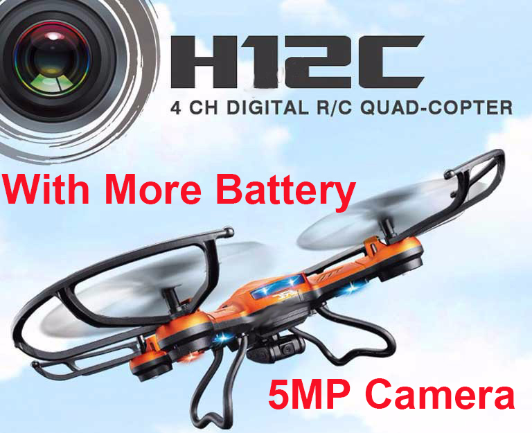(With more battery) Original JJRC H12C Drone 6 Axis 4CH Headless Mode One Key Return RC Quadcopter with 5MP Camera (In stock)<br><br>Aliexpress