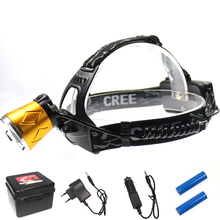 Gold Color 4 Modes 2LED Headlamp White+Purple Light Head Torch Lamp Fishing Headlight with 2x18650 Battery+Charger+Plastic Box(China (Mainland))